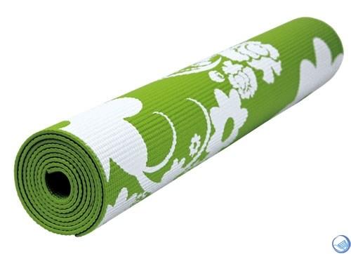Коврик для йоги и фитнеса 173*61*0,4см BB8300 с принтом, салатовый