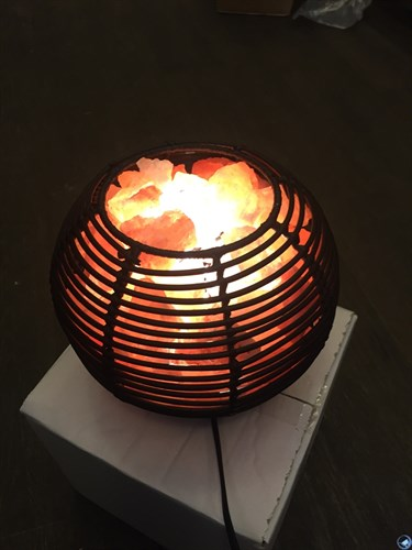 Соляной светильник STAY GOLD - лампа-камин из ротанга в форме шара