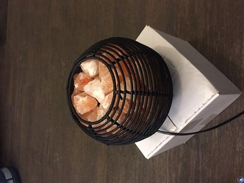 Соляной светильник - лампа-камин из ротанга в форме шара - фото 17230