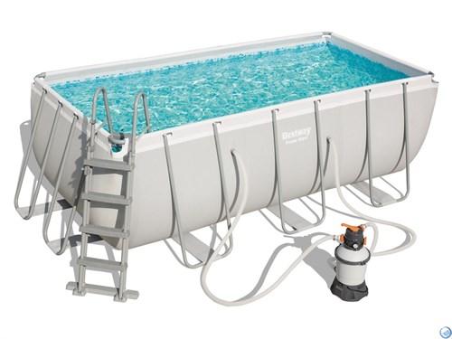 Каркасный бассейн Bestway 56457 + песч.фильтр-насос 220В, лестница (412x201x122см) - фото 35738