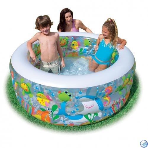 Бассейн детский Аквариум с надувным дном Intex 58480