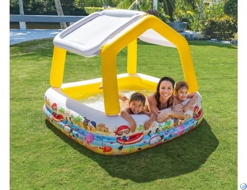"""Детский надувной бассейн прямоугольный с навесом """"Домик"""" Intex 57470 (157х157х122) - фото 51960"""