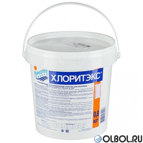 Хлоритэкс 0,8 кг.  таб. по 20 гр. (быстрая хлорная дезинфекция воды)  - фото 64451
