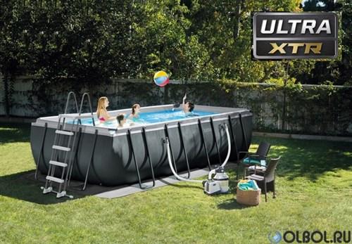 Каркасный бассейн Intex Ultra XTR Rectangular Frame Intex 26356 + песочный насос, лестница, тент, подстилка (549х274х132см) - фото 66777