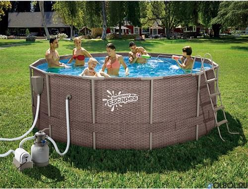 Каркасный бассейн SummerEscapes P20-1548-S + песочный фильтр, лестница, тент, подстилка, набор для чистки, скиммер (457х122см) - фото 66784