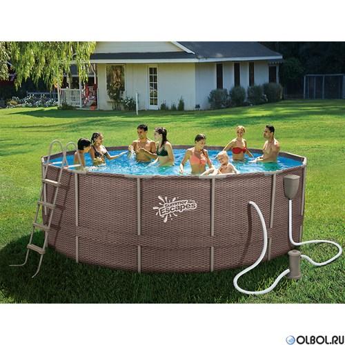 Каркасный бассейн SummerEscapes P20-1552-B +фильт насос, лестница, тент, подстилка, набор для чистки, скиммер (457х132см) - фото 66939