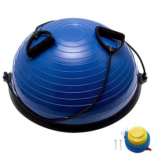 Полусфера BOSU гимнастическая, 58см., (синий) в комплекте с эспандером и насосом (B31662) BOSU055-21