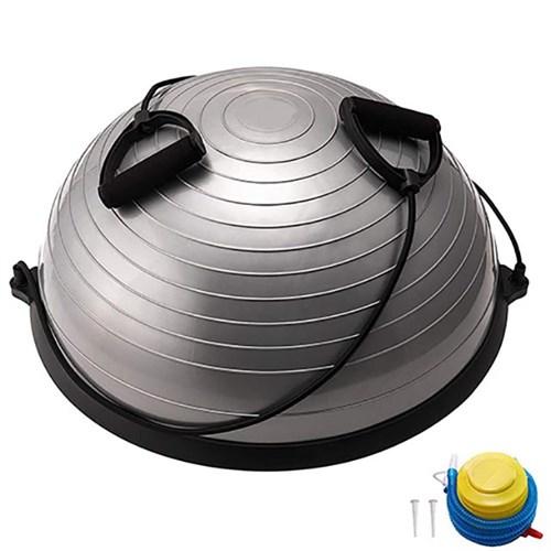 Полусфера BOSU гимнастическая, 58см., (серый) в комплекте с эспандером и насосом (B31663) BOSU055-22