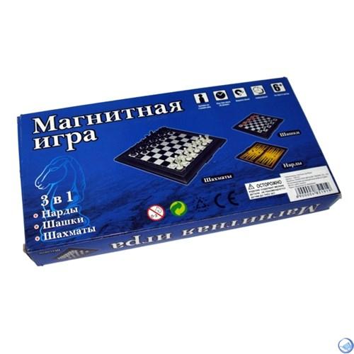Игра 3 в 1 (шашки, шахматы, нарды магнитные)