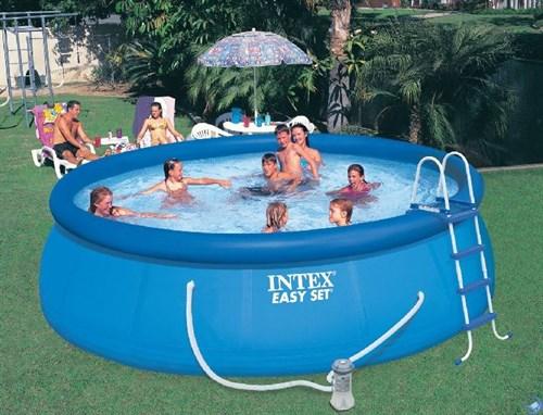 Надувной бассейн для дачи Intex 28168 (457х122см) + фильтр-насос 220 В, лест., настил, тент