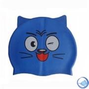 """Шапочка для плавания силиконовая с """"ушками"""" CA-T10 (синяя)"""