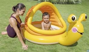 Детский бассейн с надувным дном Улитка 145х102х74 см