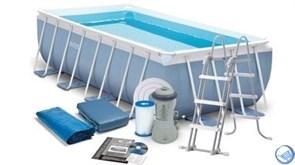 Каркасный бассейн Intex 28318 + фильтр, лестница, подстилка, тент (488х244х107см)