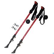 Палки для скандинавской ходьбы (красные) до 1,35м Телескопическая 3-х секционная, с флашками зажимами, неопреновая ручка F18444