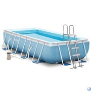 Прямоугольный каркасный бассейн Intex 26788 + фильтр-насос, лестница (400х200х100см)