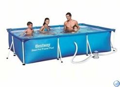 Прямоугольный каркасный бассейн Bestway 56411 + фильтр-насос (300х201х66)