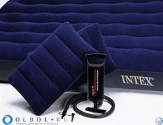 Матрас надувной двуспальный (с ручным насосом и 2 подушками) Intex 68765 (152х203х22)