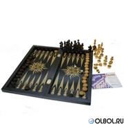 Игра 3в1 малая черная рисунок золото 193-18 (шахматы, нарды, шашки)