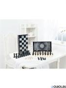 Игра 3в1 малая черная рисунок серебро 331-18 (шахматы, нарды, шашки)
