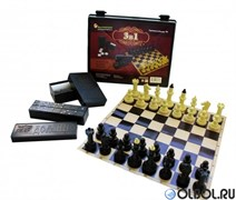 Игра 3 в 1 (шашки, домино, шахматы) 03-039