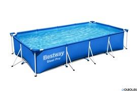 Прямоугольный каркасный бассейн  Bestway 56424 + фильтр-насос (400х211х81)