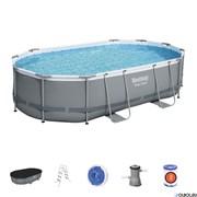 Каркасный бассейн на опорах Bestway 56448 + фильтр-насос, лестница (488х305х107)