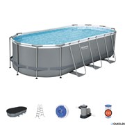Каркасный бассейн на опорах Bestway 56710 + фильтр-насос, лестница, тент (549х274х122)