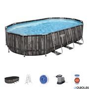 Каркасный бассейн на опорах Bestway 5611R + фильтр-насос, лестница, тент (610х366х122)