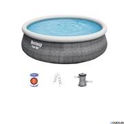 Бассейн надувной Ротанг Fast Set bestway 57372 +фильтр-насос 2,0 м3ч, лестница (457х107)