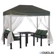Беседка Отдых 2,34х1,49х2,34м зеленая с мебелью и подушками