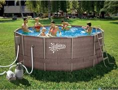 Каркасный бассейн SummerEscapes P20-1652-S +песочный фильт насос, лестница, тент, подстилка, набор для чистки DELUXE, скиммер (488х132см)