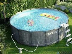 Каркасный бассейн Intex 26742 фильтр-насос (3785 л/ч)+лестница+тент+подстилка (457х122см)
